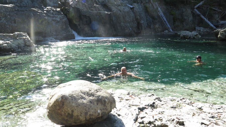 George taking a dip after our long hike to Flower Ridge