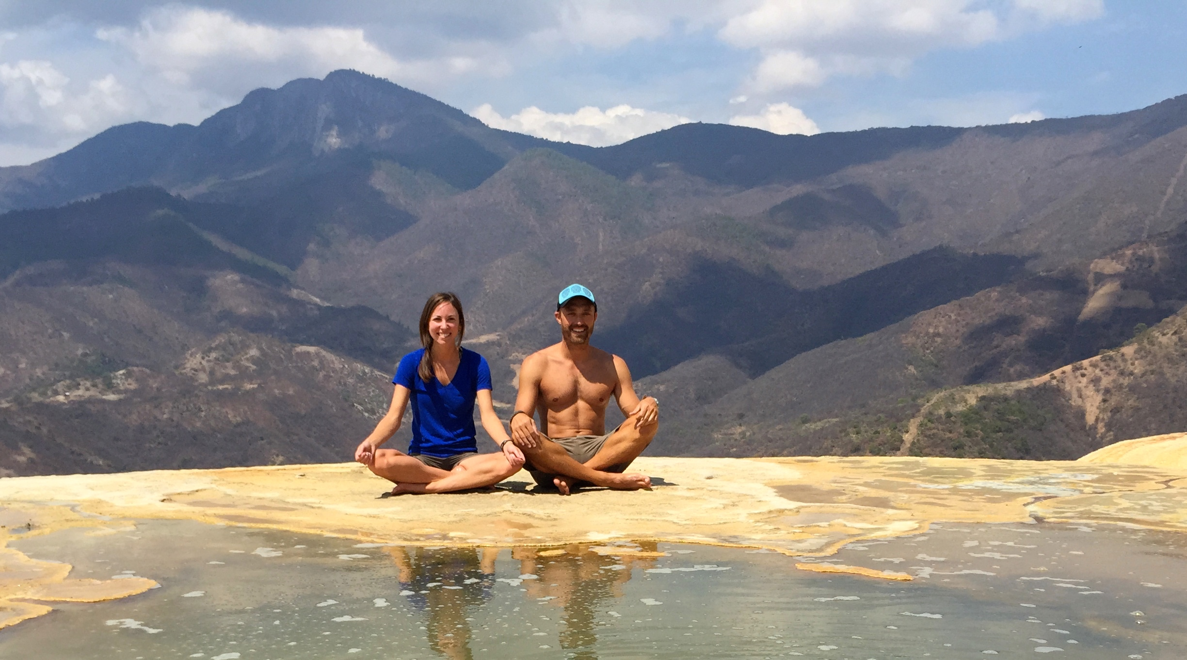 "Us ""Meditating"" for Instagram in Mexico"